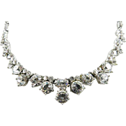 Bogoff Sparkly Glass Necklace, Art Deco 1940s Vintage Jewelry SPRING SALE