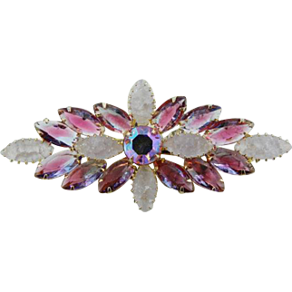 Juliana Glass Brooch, Pink Blue Givre Navettes, Frosted Opaque, Vintage Jewelry SPRING SALE