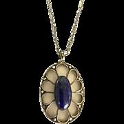 Lapis Lazuli Pendant, Camphor Glass Necklace, Rock Crystal, Marcasites, Sterling Silver, Art Deco Vintage Jewelry