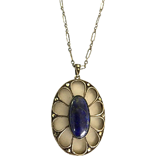 Lapis Lazuli Pendant, Camphor Glass Necklace, Rock Crystal, Marcasites, Sterling Silver, Art Deco Vintage Jewelry