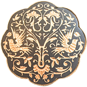 Damascene Enamel Brooch, Birds Art Deco Vintage Jewelry SPRING SALE