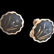 Small Damascene Enamel Black Gold Earrings, Japanese Art Deco Vintage Jewelry SPRING SALE