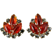 Juliana Orange // Red Glass Givre Earrings, Black Diamond, VIctorian Revival 1960s Gold Tone SUMMER SALE