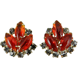 Juliana Orange // Red Glass Givre Earrings, Black Diamond, VIctorian Revival 1960s Gold Tone SPRING SALE