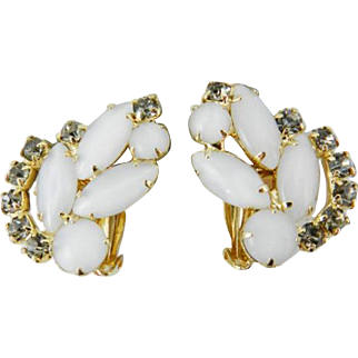 White Moonstone Glass Navette Earrings, Signed Elizabeth Morrey, Black Diamond Accent Rhinestones Gold Tone SPRING SALE