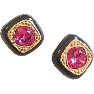 Swarovski Pink Cerise Glass Earrings, Purple, Black, Signed, Art Deco Revival Vintage Jewelry SPRING SALE