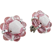 Hobe Pink Glass Bead Earrings, Silver Tone Setting, Clip Ons SPRING SALE