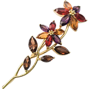 MONET Flower Glass Brooch Vintage Jewelry SPRING SALE