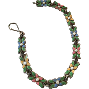Bernard Instone Silversmith, Art Nouveau Enamel Bracelet, Arts and Crafts 1910s Sterling Silver Vintage Jewelry