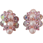 Pink Cluster Bead Earrings, Glass Crystal, Aurora Borealis, Faux Pearls Vintage Jewelry SUMMER SALE