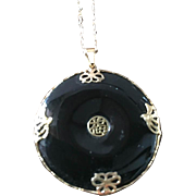 Chinese Black Onyx Pendant, 14K Gold, Art Deco Vintage Jewelry SPRING SALE