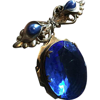 Blue Glass Victorian Bow Dangle Locket Brooch // Pendant Vintage Jewelry SPRING SALE