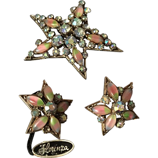 Florenza Star Brooch with Earrings, Pink Blue Givre Glass, Vintage Jewelry SPRING SALE
