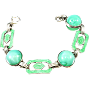 Green Satin Glass Bracelet, Art Deco 1920s, Sterling Silver, Vintage Jewelry SUMMER SALE
