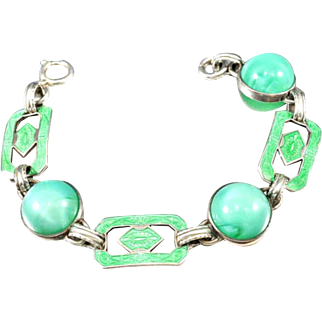 Green Satin Glass Bracelet, Art Deco 1920s, Sterling Silver, Vintage Jewelry SPRING SALE