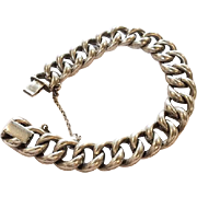 French Silver Bracelet, Heavy Curb Charm, Victorian Era, Vintage Jewelry SALE