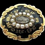 Victorian // Georgian Mourning Brooch, Pearl, Plait of Hair, 14K Gold, Black Enamel, Vintage Jewelry SALE