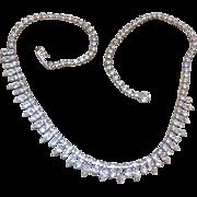 Aurora Borealis Rhinestone Bib or Fringe Necklace, Glass, Vintage Jewelry SALE
