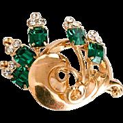 Art Deco Green Glass Brooch, Flower, Vintage Jewelry SALE