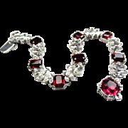 Ciner Bracelet, Ruby Red Glass, Rhodium Plated Designer Vintage Jewelry