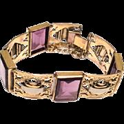 Amethyst Bracelet, Gold Fill, Sterling Silver, 1920s Art Deco Vintage Jewelry SALE