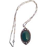 Chrysoprase Pendant Necklace, Roses, Silver 800, Art Deco Vintage Jewelry SALE