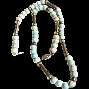 Larimar Bead Necklace, Sterling Silver Art Deco // Retro 1940s, Tribal, Boho Vintage Jewelry SUMMER SALE