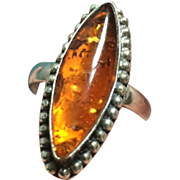 Amber Ring, Sterling Silver, 1960s Vintage Jewelry SUMMER SALE