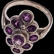 Amethyst Multi Stone Ring, Navette, Sterling Silver, Vintage Jewelry SUMMER SALE