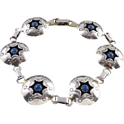 Blue Lapis Lazuli Bracelet, Native American, Shadow Box, Sterling Silver VINTAGE JEWELRY SUMMER SALE