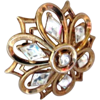 Crown Trifari Pin, Rhinestone Flower Brooch, 1940s Vintage Art Deco Jewelry SUMMER SALE