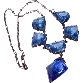 Art Deco Pendant Necklace, Blue Glass,1920s Vintage Jewelry SUMMER SALE