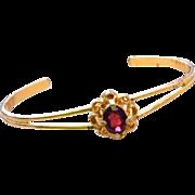 Red Glass Bracelet, Slender Cuff Bangle, Vintage Jewelry, SUMMER SALE