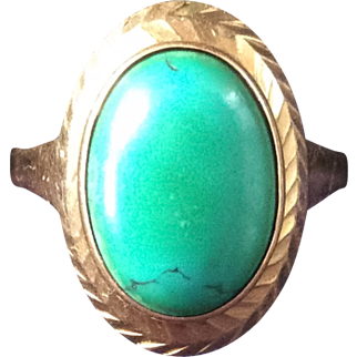 Turquoise Ring, Gold, Silver, Art Deco 1940s Vintage Jewelry SUMMER SALE