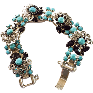 Juliana Bracelet, Turquoise with Jet Glass, Silver Vintage Jewelry SUMMER SALE
