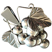 Taxco Mexican Sterling Silver Grapes, Forbidden Fruit, Pin Pendant Vintage Jewelry SUMMER SALE