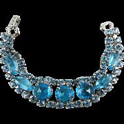 Aquamarine Blue Glass Bracelet 1960s Art Deco Style Vintage Jewelry SUMMER SALE
