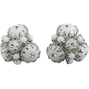 Claw Set Milk Glass Earrings with Rhinestone Insets, Victorian Revival 1960s Vintage Jewelry