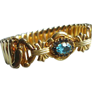 Art Deco // Retro Blue Glass Expansions Bracelet, Designer Bojar, Vintage Jewelry SUMMER SALE