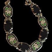 RESERVED for L, Do Not Purchase, Art Deco Bracelet Green Enamel