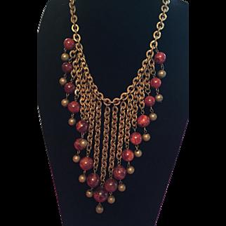 Bakelite Bead and Brass Bib Necklace Vintage Jewelry