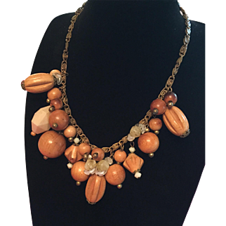 Wooden Bead and Lucite Fringe Necklace Vintage Jewelry