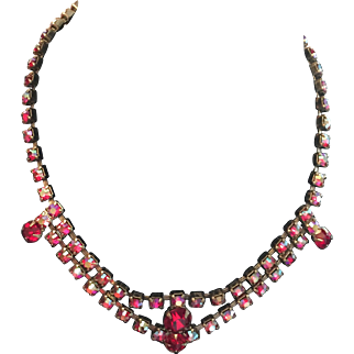 Red Glass Rhinestone Necklace Art Deco Style Vintage Jewelry SALE