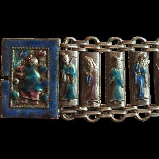 Chinese Enamel Bracelet, Immortals, Art Deco Vintage Jewelry