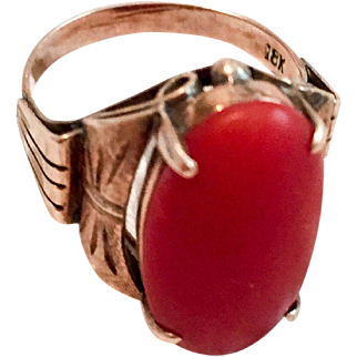 Art Deco Ring, Natural Red Coral, 18K Gold Vintage SALE