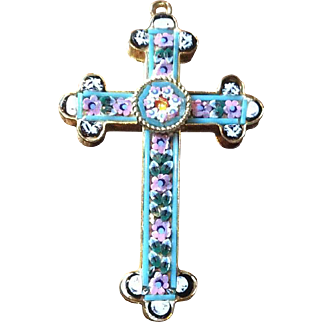 Italian Cross Pendant, Mosaic, Blue, Pink, White, Green, Vintage Jewelry