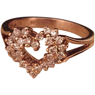 Diamond Heart Shaped Ring, 14K Gold, Vintage Jewelry