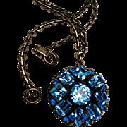 Kramer of New York Blue Rhinestone Pendant Necklace