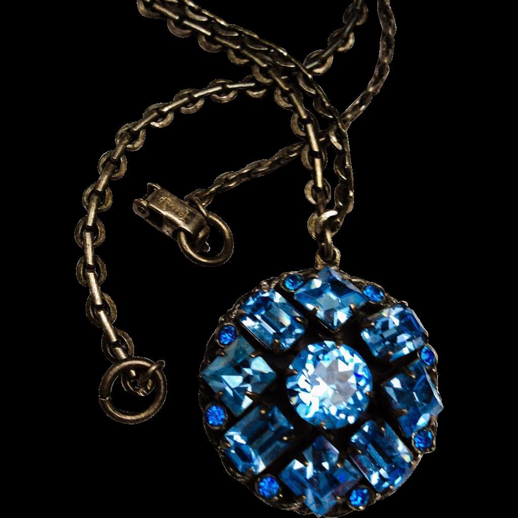 now sold kramer of new york blue rhinestone pendant. Black Bedroom Furniture Sets. Home Design Ideas