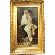19th Century French School Oil On Canvas Madonna And Child, Follower Of Hebert